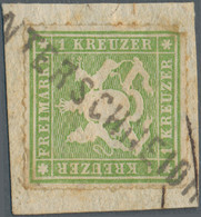"""Württemberg - Postablagen: 1865, """"UNTERSCHNEIDHEIM"""" Postablagen-Einzeiler (+ 1.000) Auf 1 Kr Grün/Br - Wurtemberg"""