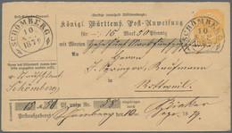 Württemberg - Steigbügelstempel: 1878, 15 Pf Gelb Post-Anweisungs-Ganzsachenumschlag über 15 Mark Un - Wurtemberg