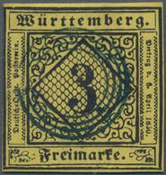 Württemberg - Stumme Stempel: 1851, 3 Kreuzer Schwarz Auf Pastellgelb Mit Stummem Stempel, Enger Vie - Wurtemberg