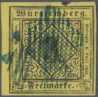 """Württemberg - Stumme Stempel: 1852, """"TUTTLINGEN"""" Enger Blauer Strichstempel (stummer Stpl.- Mi-Nr. 9 - Wurtemberg"""