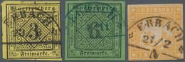 """Württemberg - Bahnpost: 1851 - 1857, Seltener Blauer Bahnstempel """"ERBACH"""" Auf 6 Kr. Grün Und In Asch - Wurtemberg"""
