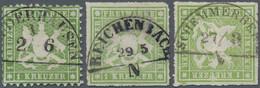 Württemberg - Bahnpost: 1863 - 1865, Wappen 1 Kreuzer Grün Gezähnt Und Zweimal Wappen 1 Kr. Gelbgrün - Wurtemberg