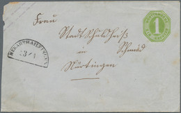 Württemberg - Bahnpost: 1865, GA-Umschlag 1 Kr. Gelblichgrün Nach Nürtingen, Entwertet Mit Bahnstemp - Wurtemberg