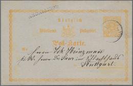 """Württemberg - Bahnpost: 1873, 2 Kreuzer Gelb Entwertet Mit DB """"K. WÜRTT. BAHNPOST"""" Und Sehr Seltenem - Wurtemberg"""