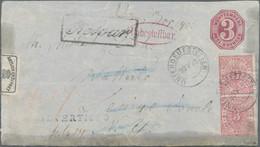 Württemberg - Besonderheiten: 1874, 3 Kr. Ganzsachenumschlag Hellkarmin Und Zweimal 3 Kr. Hellrosa N - Wurtemberg