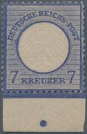Deutsches Reich - Brustschild: 1872, Kleiner Schild 7 Kreuzer Grauultramarin, Ungebrauchtes Randstüc - Neufs