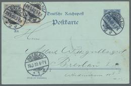 """Deutsches Reich - Krone / Adler: 1900, """"2 Pfg. Krone/Adler"""", Waag. Paar Mit Ersttagsstempel BRESLAU - Sin Clasificación"""