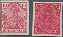 Deutsches Reich - Germania: 1900, Reichspost, 10 Pfg. Ungezähnt Bzw. Ungezähnt Mit Doppeldruck, Davo - Unused Stamps