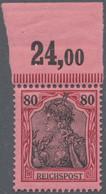Deutsches Reich - Germania: 1900, 80 Pf Germania Von Oberrand, Marke Und OR In Tadellos Postfrischer - Unused Stamps