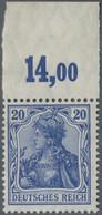 Deutsches Reich - Germania: 1915, 20 Pf. Kriegsdruck Violettultramarin Vom Bogenrand Oben Mit Platte - Unused Stamps