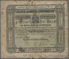 Ceylon: Asiatic Banking Corporation, KANDY Issue 10 Shillings 18xx, P.S106A, Extraordinary Rare With - Sri Lanka