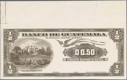 Guatemala: Banco De Guatemala 50 Centavos De Quetzal 1958 Intaglio Printed Proof On Thicker Cardboar - Guatemala