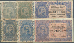 Italy / Italien: Set Of 11x 10 Lire 1888 P. 20, Block Numbers 3988, 2789, 2965, 979, 3576, 2054, 219 - Unclassified