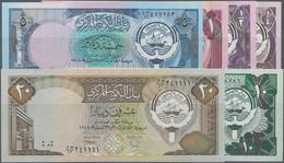Kuwait: Central Bank Of Kuwait, Set With 6 Banknotes Series L. 1968 (1980-1991) With ¼ (aUNC), ½ (UN - Kuwait