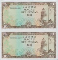 Macau / Macao: Banco Nacional Ultramarino, Macau, Group Of 8 Uncut Pair Progressive Proofs Of The 10 - Macau