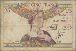 Martinique: Banque De La Martinique 25 Francs ND(1930-45), P.12, Tiny Margin Splits, Small Tears At - Other