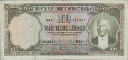 Turkey / Türkei: Pair With 5 Lira L.1930 (1951-61) P.173 (VF) And 100 Lira L.1930 (1951-61) P.169 (F - Turkey
