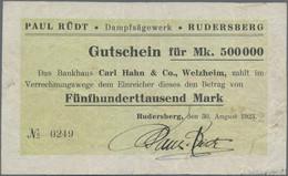 Deutschland - Notgeld - Württemberg: Rudersberg, Dampfsägewerk Paul Rüdt, 500 Tsd. Mark, 30.8.1923, - [11] Emisiones Locales