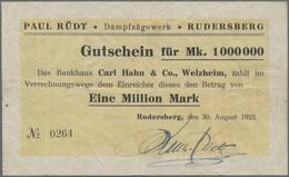 Deutschland - Notgeld - Württemberg: Rudersberg, Dampfsägewerk Paul Rüdt, 1 Mio. Mark, 30.8.1923, Er - [11] Emisiones Locales
