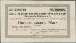 Deutschland - Notgeld - Württemberg: Stuttgart - Obertürkheim, Adolf Aldinger Maschinenfabrik, 100 T - [11] Emisiones Locales