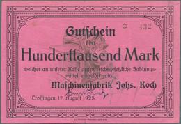 Deutschland - Notgeld - Württemberg: Trossingen, Maschinenfabrik Johs. Koch, 100 Tsd. Mark, 17.8.192 - [11] Emisiones Locales