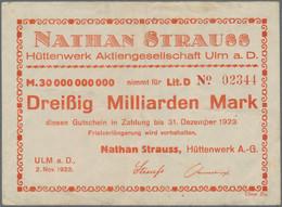 Deutschland - Notgeld - Württemberg: Ulm, Nathan Strauss Hüttenwerk A.-G., 30 Mrd. Mark, 2.11.1923, - [11] Emisiones Locales