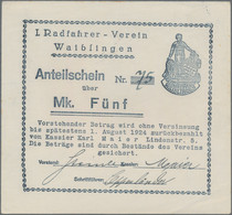 Deutschland - Notgeld - Württemberg: Waiblingen, I. Radfahrer-Verein Waiblingen, 1, 3, 5 Mark, O. D. - [11] Emisiones Locales