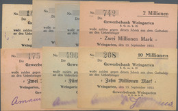 Deutschland - Notgeld - Württemberg: Weingarten, Gewerbebank, Eigenschecks, 1 Mio. Mark, 30.8.1923, - [11] Emisiones Locales