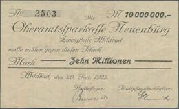 Deutschland - Notgeld - Württemberg: Wildbad, Stadtgemeinde, 10 Mio. Mark, 20.9.1923, Scheck Auf Obe - [11] Emisiones Locales