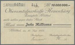 Deutschland - Notgeld - Württemberg: Wildbad, Stadtgemeinde, 10 Mio. Mark, 10.9.1923, Scheck Auf Obe - [11] Emisiones Locales
