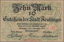 Deutschland - Notgeld - Württemberg: Reutlingen, Stadt, 10 (4), 20 (5) Mark, 1918, Jeweils Ein Schei - [11] Emisiones Locales