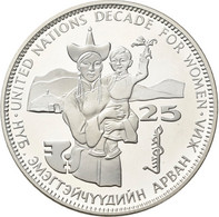 Mongolei: 25 Tögrög (Tugrik) 1984, Jahrzehnt Der Frau / UN Decade For Women. KM# 47. 925/1000 Silber - Mongolia