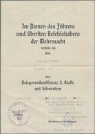 Orden & Ehrenzeichen: Drittes Reich, 12 Urkunden Zum Kriegsverdienstkreuz (KVK) II. Klasse Mit Schwe - Non Classés