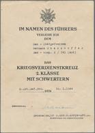 Orden & Ehrenzeichen: Drittes Reich, 8 Urkunden Zum Kriegsverdienstkreuz (KVK) II. Klasse Mit Schwer - Non Classés