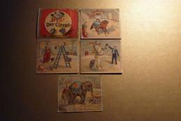 4 Chromos(dont Un Recto/verso)-5 Jolies Scènes Du Cirque D'Autrefois : Ecuyère, Chiens Acrobates, Chevaux, Clown... - Unclassified