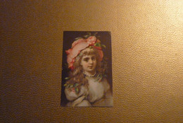 "Chromo Jeune Fille Chapeau ""Rose"". - Unclassified"