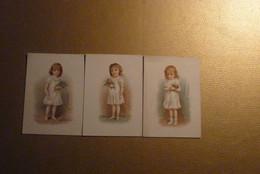 Lot De 3 Chromos Petite Fille Robe Blanche Avec Bouquets De Fleurs. - Unclassified
