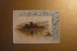 Grand Chromo Souvenir Du Monastère D'Aiguebelle-Illustration Paysage Au Bord De L'Eau - Contour Bleu Fleuri. 10x14cm - Aiguebelle