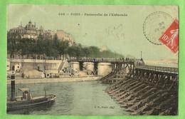 A166  CPA  PARIS (IVè Ar.)  Passerelle De L'Estacade  -  Carte Toilée   +++++++++++++++++ - El Sena Y Sus Bordes