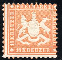 325.GERMANY.WURTTEMBERG.1863 18 KR.MICHEL 29,MH,SIGNED,GUM BLEMISH UPPER LEFT CORNER - Wurtemberg