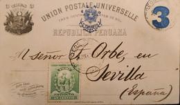 O) 1990 PERU, MANCO CAPAC, FOUNDER OF INCA DYNASTY, NUMERAL 3c POSTAL STATIONERY, CIRCULATED TO SPAIN, XF - Perú
