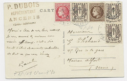 CHAINE 10CX3+ MAZELIN 1FR+2FR50 CARTE ANCENIS 7.1.1947 AU TARIF DU 2.1.1947 2FR80 - 1941-66 Coat Of Arms And Heraldry