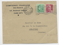 MAZELIN 80C +3FR GANDON LETTRE PARIS XV II.II.1947 TARIF FACTURE - 1945-47 Ceres Of Mazelin