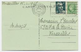 MAZELIN 80C +2FR GANDON CARTE 5 MOTS MEC PARLEMENT CONGRES DE VERSAILLES 16.1.1947  TARIF 2FR80 - 1945-47 Ceres Of Mazelin