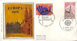 [910590]TB//-c:10e-Belgique 1973 - N° 1669/70, BRUXELLES - 1000 - BRUSSEL - PARIS, FDC Soie,  Europa-Cept - 1971-80