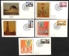 [910680]TB//-c:9e-Belgique 1974 - N° 1718/22, 1440 BRAINE-LE-CHATEAU, FDC Soie, SC, Historique, Monument - 1971-80