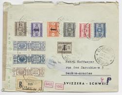 ITALIA  POSTALI 5CX2+10CX2+30CX2+ SEGNATASSE LETTERA REC DUMENZA 30.12.1944 VARESE TO SUISSE CENSURA - Poststempel
