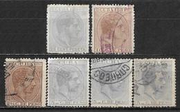 1880-1887 IslaDaCUBA Set Of 6 Used/Unused Stamps (Michel # 33,40,47,48I,48II) - Cuba (1874-1898)