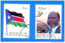 Cancelled 1st Stamps Of Independent SOUTH SUDAN = CTO 1SSP National Flag And 3.5 SSP Dr John Garang SOUDAN Südsudan - Zuid-Soedan