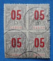 AB1  GABON BLOC SUR FRAGMENT + SURCHARGE ROUGE  1912 NE MANQUENT PAS DE DENTS+OBLITERES - Gebruikt
